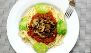 Mushroom pasta with brussel sprouts3