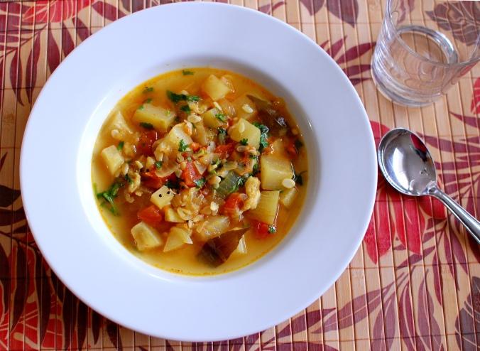 Bottle gourd bhaji (long melon stew) 1